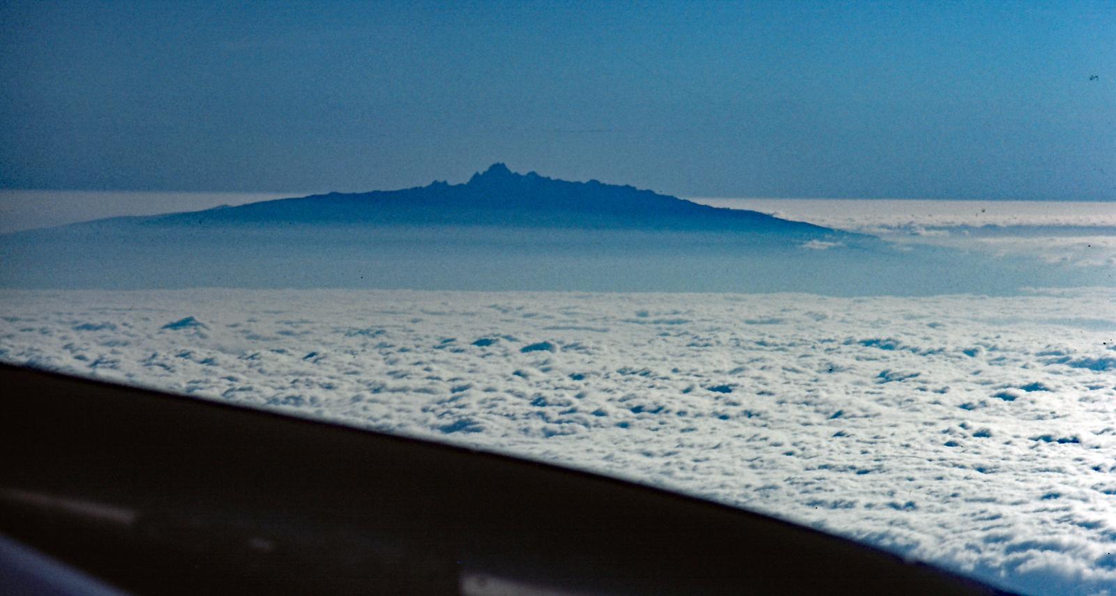 Mt Kenya from the air as we fly into Nairobi