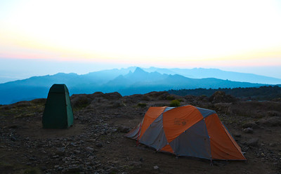 night 2 - my tent and poop tent...3800 meters i believe