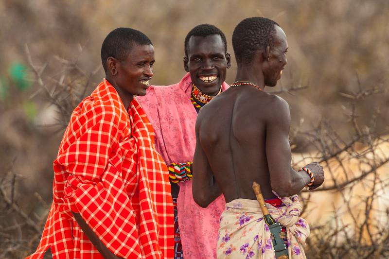 Africa. Kenya. Samburu male elders at Samburu NP.