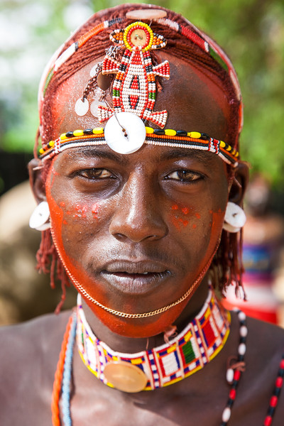 Africa. Kenya. Young Samburu male at traditional dance ceremony in Samburu NP.