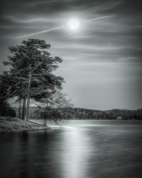"Lake Keowee ""Blue"" Moon Rise (B&W)"