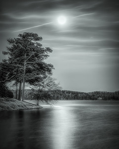 "Lake Keowee ""Blue"" Moon Rise (B&W)"
