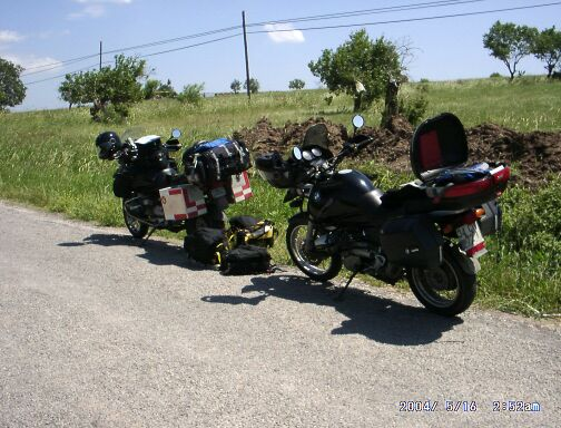 bikes parked on the road.