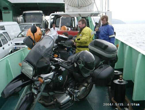 At the ferry crossing Dardanels. That was the only day that we had a little rain.