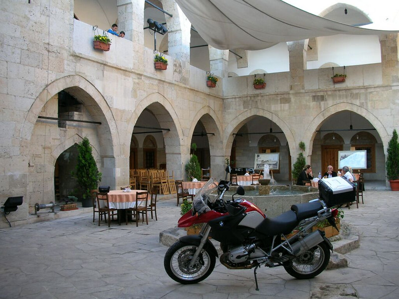 First day of the tour. We are in Safranbolu. The building is an ancient Kervansaray transformed to an Hotel. There use to be camels of the traders instead of BMW 1200 GS in the courtyard.<br /> N 41 14'40.67 E 32 41'37.05
