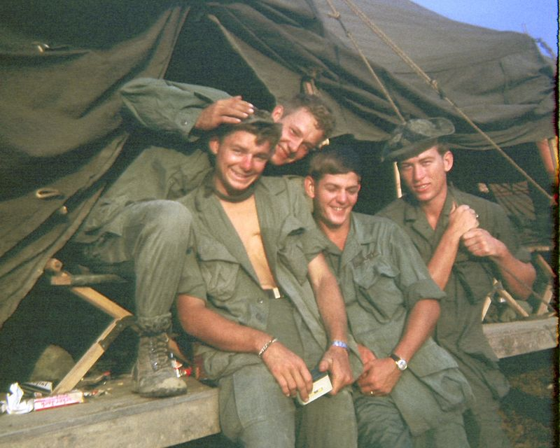 EK-23 John Jervis, III (NJ, KIA 8 Feb 68), John Martenis (NJ), Emil Ketelhut (MI), and Monty Marsh (IN), at the 2nd Platoon Barracks in basecamp.