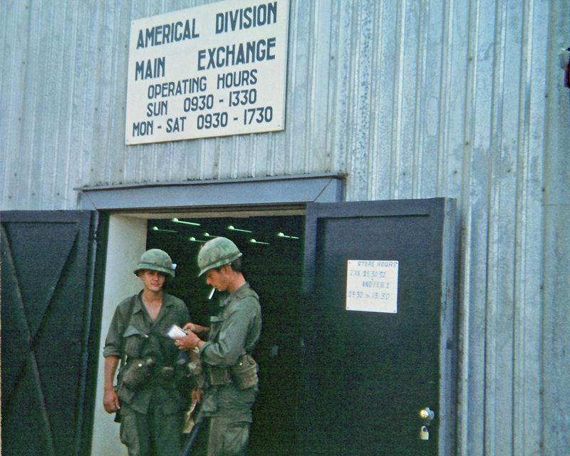EK-11 Emil Ketelhut (MI) and maybe John Jervis, III (NJ, KIA 8 Feb 68), in front of the Americal Division PX. Was this PX in Chu Lai, or where?