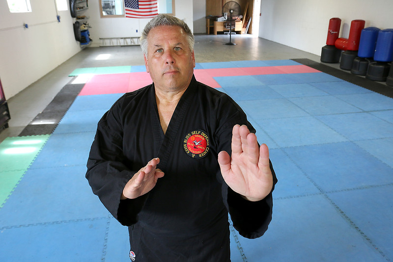 Kevin Bliss of Kevin Bliss Self Defense Center in Leominster teaches classes on how to defend against an attacker. SENTINEL & ENTERPRISE/JOHN LOVE