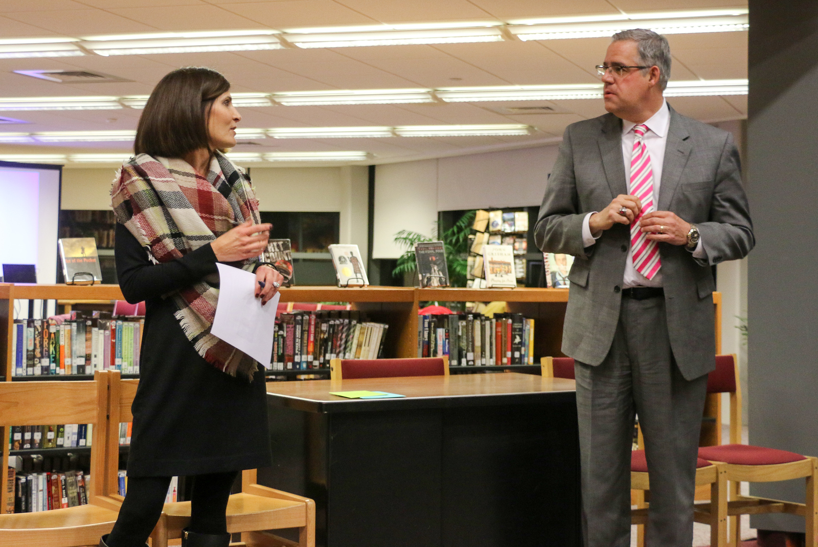 Superintendent Kevin Case was recognized on Tuesday for his 10 years of service in Canton. Here he is seen with Board of Education chair Julie Auseré.<br /> Photo by John Fitts