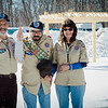 Kevin Lavoie, part of a special needs boyscout troop, has recently become an eagle scout. Pictured with him are parents Ken and Donna, behind them is a pergola at GAAMHA in Gardner that Lavoie built with the help of family and fellow scouts. SENTINEL & ENTERPRISE / Ashley Green