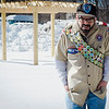 Kevin Lavoie, part of a special needs boyscout troop, has recently become an eagle scout. Pictured behind him is a pergola at GAAMHA in Gardner that he built with the help of family and fellow scouts. SENTINEL & ENTERPRISE / Ashley Green