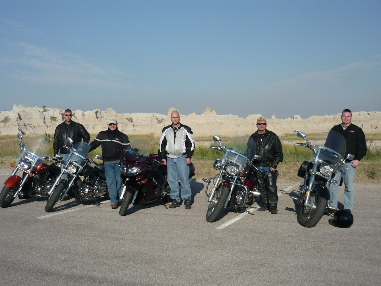 Left to right, Coleman, me, Dean, Ron and Sean.<br /> <br /> Left to right, VTX, VStar, FJR, VTX, and VTX.