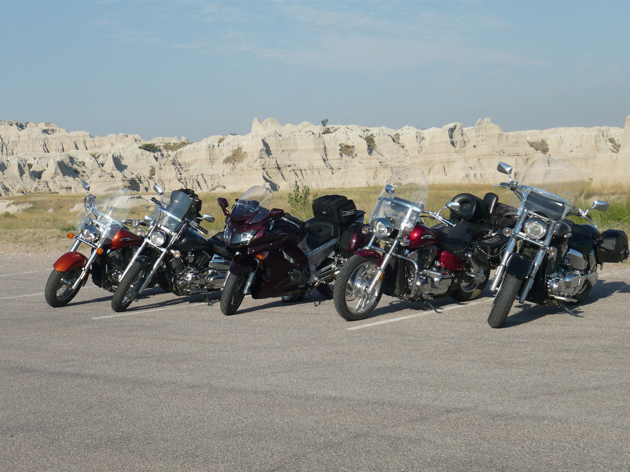 All 5 bikes together. A rare photo, they were all sitting still.<br /> <br /> 3 VTX 1300's, 1 VStar 1100, and Deans FJR 1300.