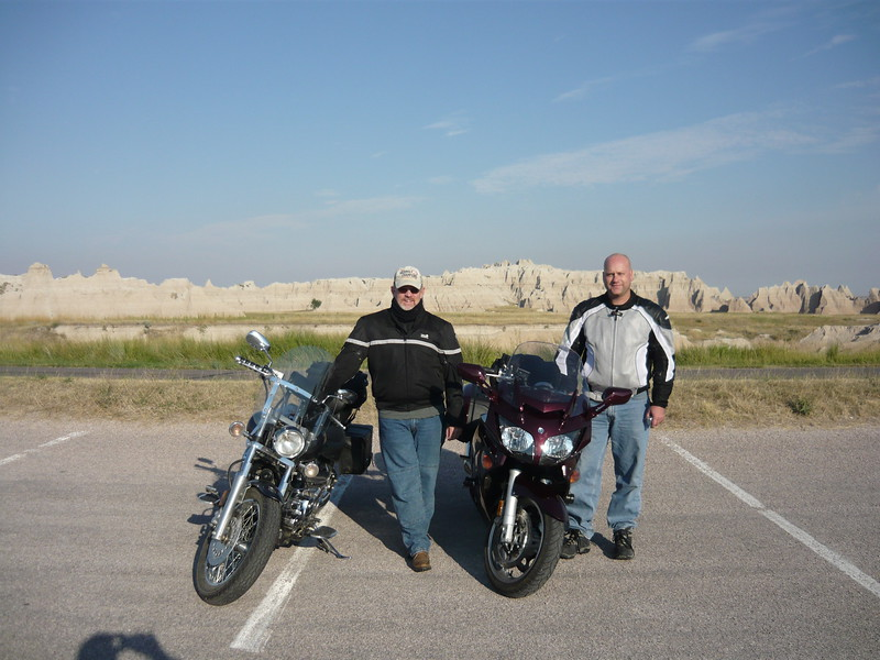 Here's me and my Air Force buddy Dean. He was the only non cruiser riding an FJR 1300. A very nice bike. He rode down from North Dakota to ride with us.