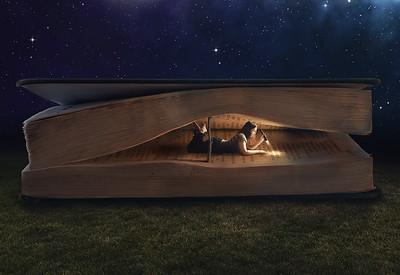 Woman inside book.