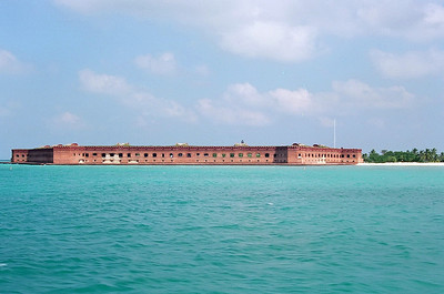 Fort Jefferson National Park on the island called the Dry Tortugas which is 70 miles west of Key West reachable only by air or sea.