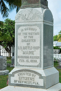 The base of the memorial to the fallen sailors of the Battleship USS Maine.