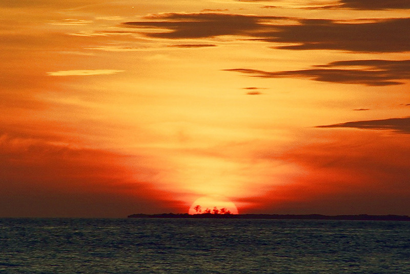 This is truly a sunset over the islands.