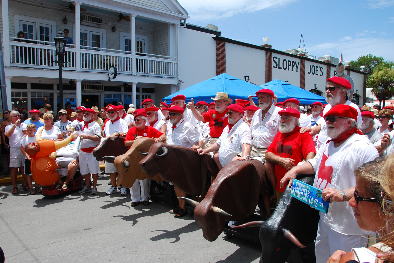 """The 2009 Hemingway Days celebration with over 140 Hemingway Look-A-Like contestants.  This is the famous """"Running of the Bulls"""" in Key West Style."""