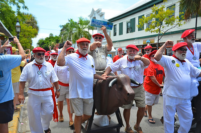 "The 2011 Hemingway Days celebration was held over the July 21-23 weekend with over 100 entries to the ""Look-a-Like"" contest.  And one of the main events is the Key West rendition of the ""Running of the Bulls"" as is held yearly in Pamplona, Spain during their bull fighting festival which was so adored by Ernest Hemingway.  Of course, do to the age of our entrants we have the ""Riding of the Bulls"" instead! The 2011 Hemingway Days celebration was held over the July 21-23 weekend with over 100 entries to the ""Look-a-Like"" contest.  And one of the main events is the Key West rendition of the ""Running of the Bulls"" as is held yearly in Pamplona, Spain during their bull fighting festival which was so adored by Ernest Hemingway.  Of course, do to the age of our entrants we have the ""Riding of the Bulls"" instead!"