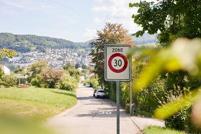 Tempo-30-Zone Energiestadt Frenkendorf; Zone 30 km/h, Cité de l'énergie de Frenkendorf; Zona a velocità 30 Città dell'energia Frenkendorf