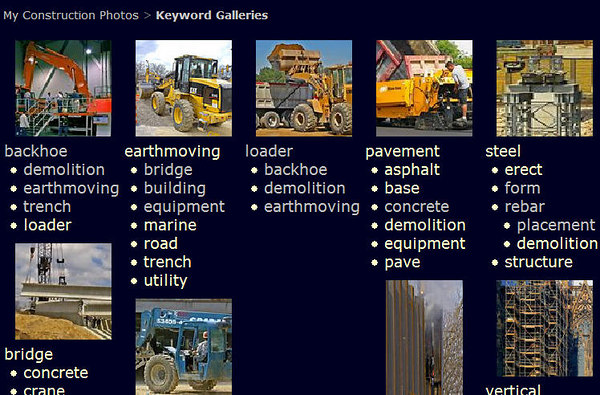 "Click ""Keywords"" on Navigation Bar to go to special Keyword Galleries page. This leads to photos grouped by single keyword or two keywords. For example:<br /> <br /> Click on ""backhoe"" to get all photos of backhoes.<br /> <br /> Click on ""trench"" in list below ""backhoe"" to get all photos that show both a backhoe and a trench."