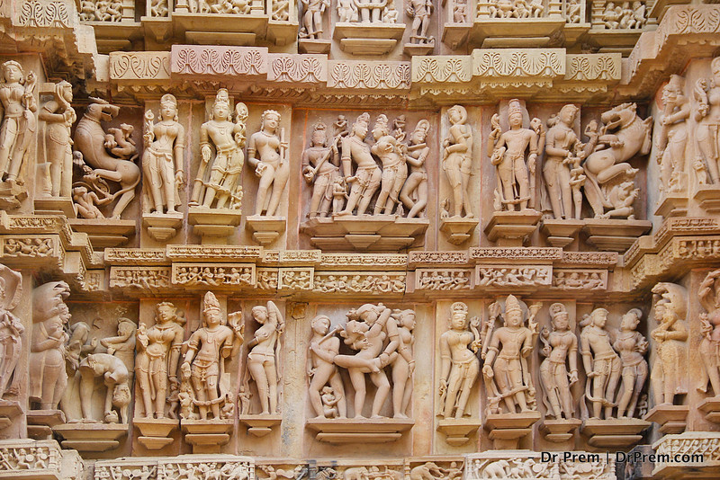 The sculptures of Khajuraho reveals the beauty of human body, social structures, style of living, dignity of God, sex appeal and male-female status of ancient India.