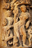 The Khajuraho temple describes about extraordinatory art of Indian sculptures in medieval days. Women wear ornaments in their body and wear it as a dress.