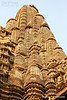 Stone carving in Kendriya Mahadev Temple, Khajuraho, India. Spires of Mahadev temple is the tallest temple out of seven temple of Khajuraho