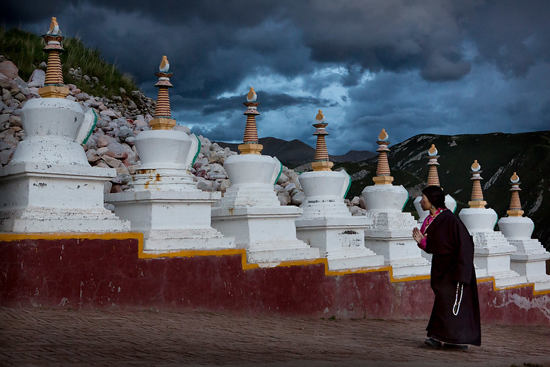 Circling the mani stones. Tshebchu Monastery.