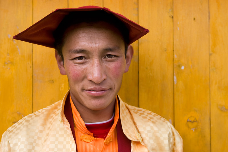 A monk on the main street in Kandze (Ganzi), Kham (Sichuan)