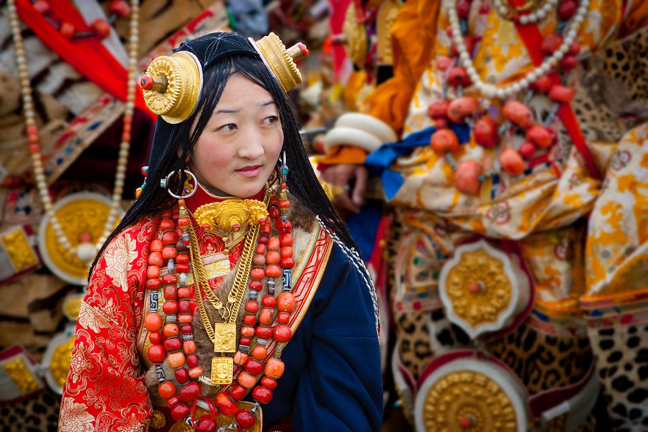 A girl attending the Litang horse racing festival, Kham (Sichuan)