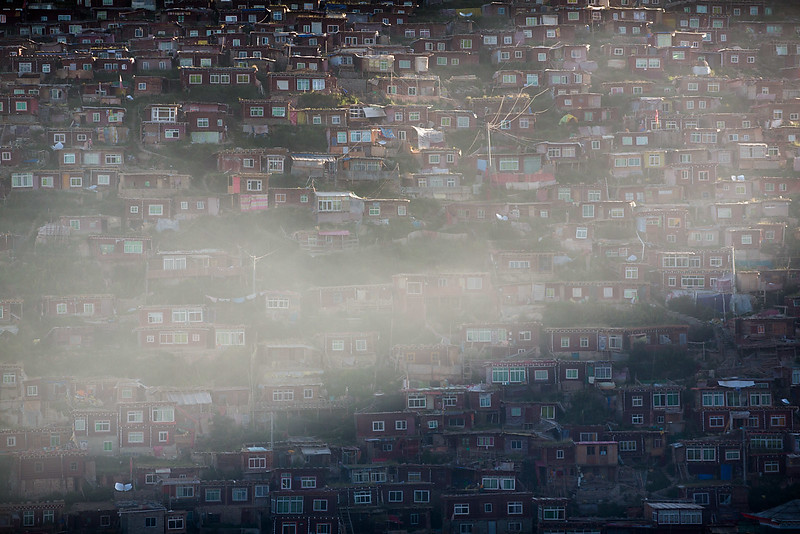 Morning fog. Larung Gar. Serthar.