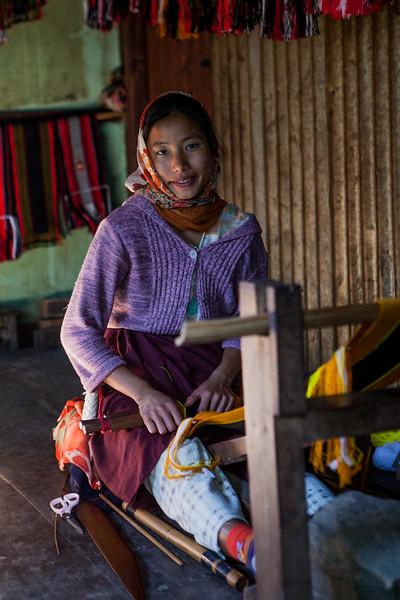 Handloom machine is a household furniture, Khonoma, Nagaland, India