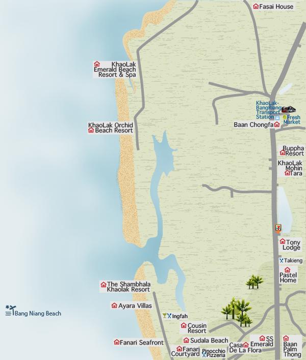 Bang Niang map, Khao Lak, Thailand