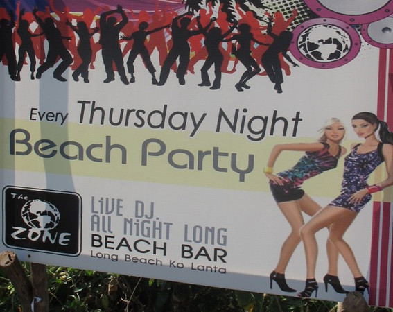 Koh Lanta Nightlife - Beach Party Sign