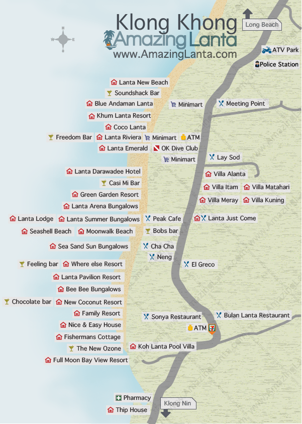 Klong Khong Beach Map Koh Lanta