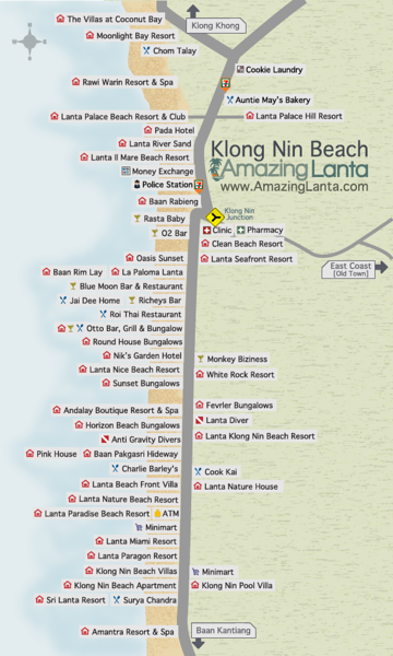 Klong Nin Beach Map, Koh Lanta