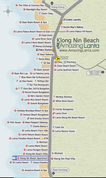 Klong Nin Beach Map with Klong Nin Beach Apartments location highlighted