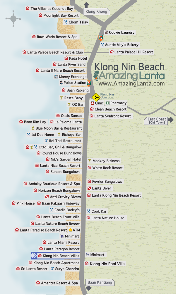 Klong Nin Beach Map with Klong Nin Beach Villas location highlighted