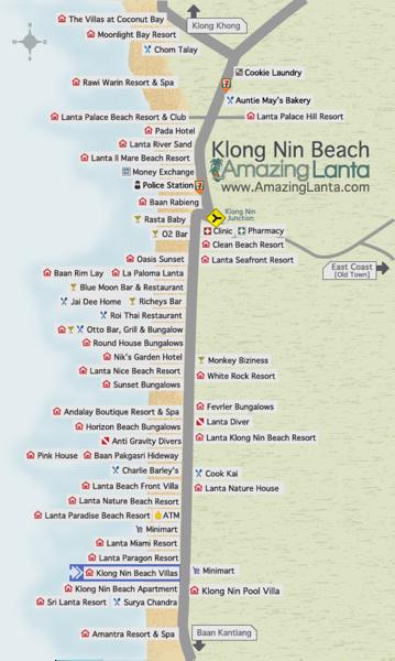 Klong Nin Beach Map with Klong Nin Beach Villas location highlighted