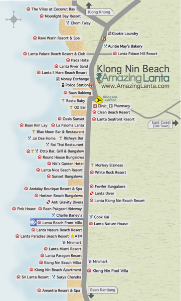 Klong Nin Beach Map with Lanta Beach Front Villa location highlighted