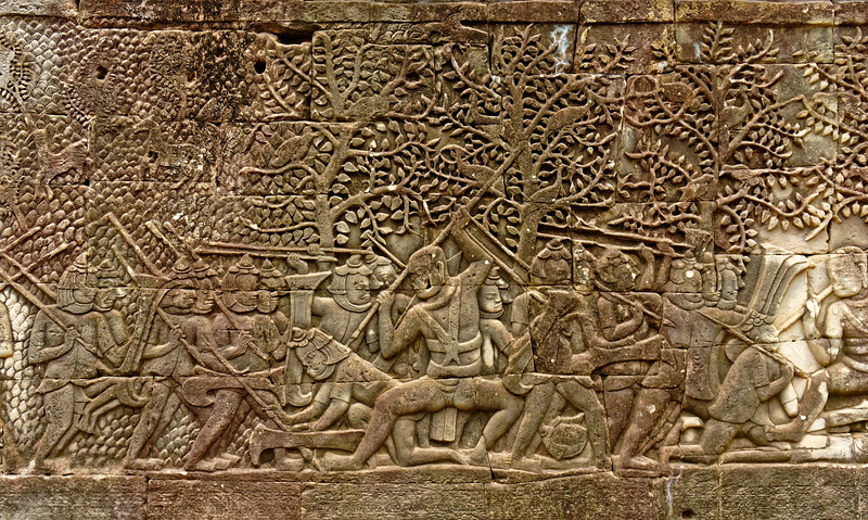The Khmers overwhelming the Chams in battle