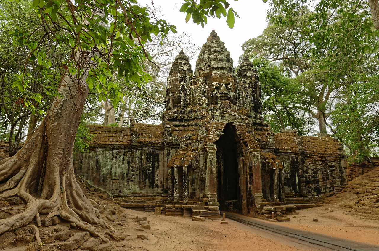 The north gate of Angkor Thom, seen from outside the wall