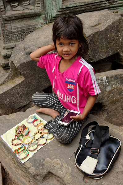 We were told that her father works as a guard at the temple, so she wasn't all on her own.