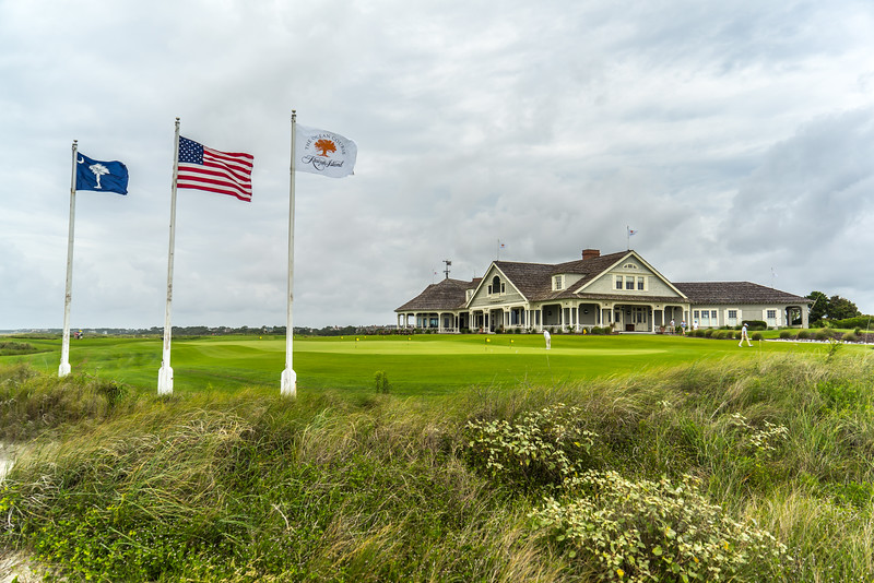 Ocean Course Clubhouse with flags