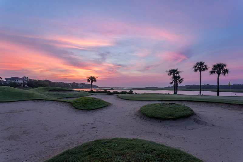 Dawn at the Oak Point Golf Course looking over the Sand Traps