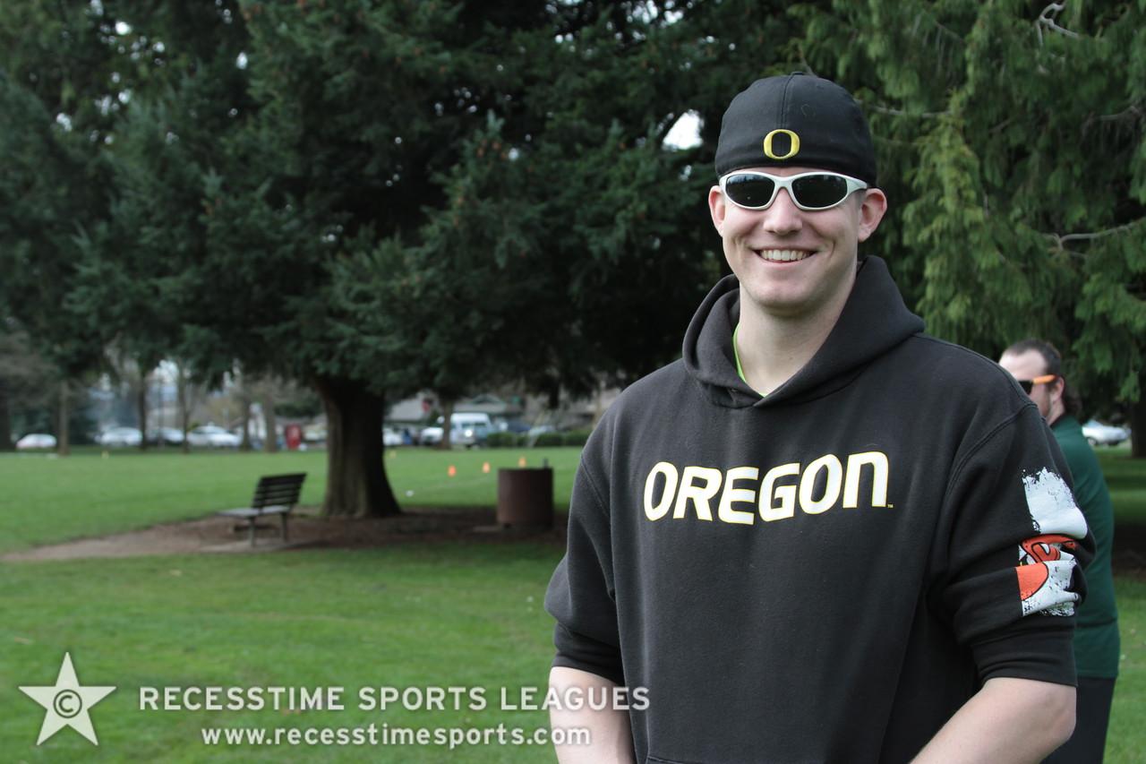 You wouldn't guess he is an Oregon fan, would you?