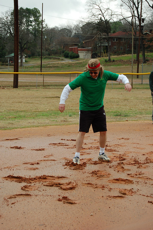 Kickball game in the rain