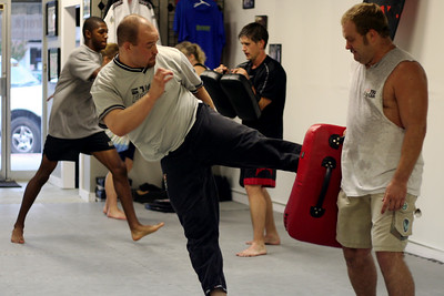 Jory doing one of his famous lead leg kicks.